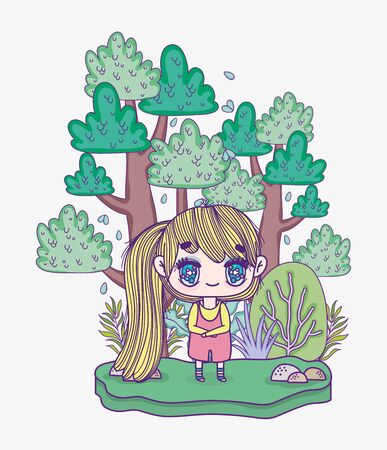 kids, cute little blonde girl outdoor scene cartoon vector illustration Ilustracja