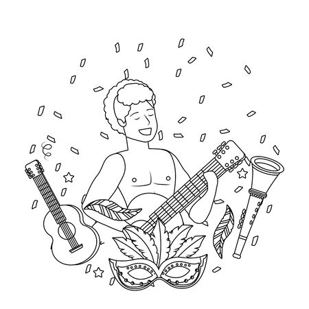 man with arms up celebrating brazil carnival with guitar trumpet and mask vector illustration editable