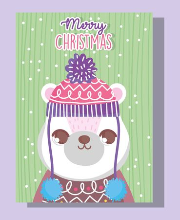 polar bear with hat and sweater happy merry christmas tag vector illustration