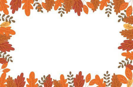 foliage leaves nature frame autumn on white background vector illustration Ilustração