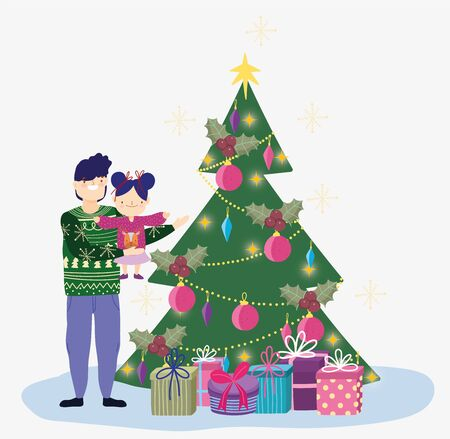 dad carrying little daughter with tree and gifts merry christmas, happy new year vector illustration Standard-Bild - 138475892