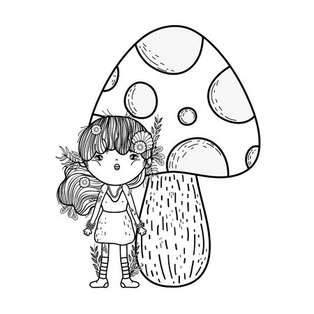 cute little fairy with fungus vector illustration design