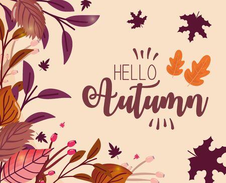 foliage hello autumn inscription decoration vector illustration