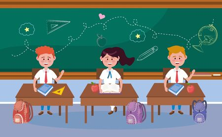 boys and girl students in the desk and backpack to back to school vector illustration