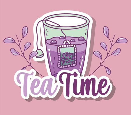 cup with herb tea time sketch flat design vector illustration