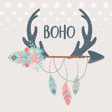 deer horns with flowers ,feathers and arrows boho style vector illustration design