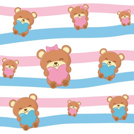 toy bears with hearts background and curve lines pattern blue and pink vector illustration graphic design