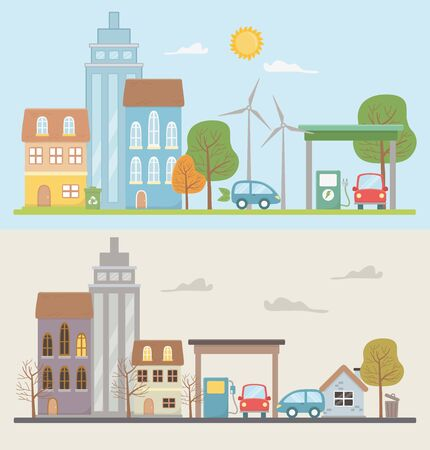 Eco city icon set design, Save planet think green and recycle and renewable theme Vector illustration