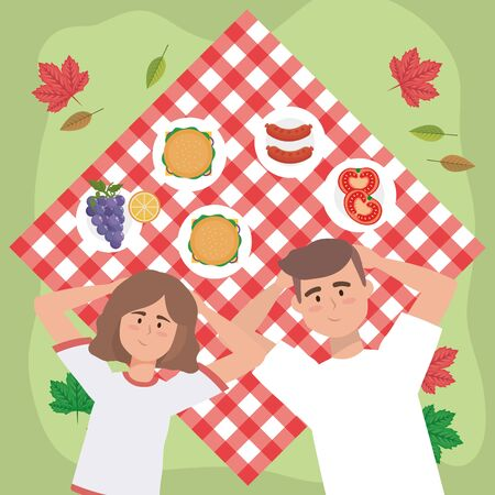 woman and man couple with hamburgers and sausages to picnic relaxation, vector illustration