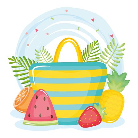 summer holiday poster with hand bag and icons vector illustration design Foto de archivo - 138475939