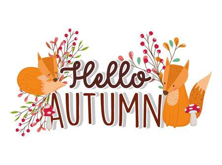 cute foxes hello autumn season greeting vector illustration Ilustracja
