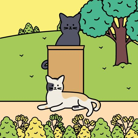 cute cats mascots adorables in the park vector illustration design