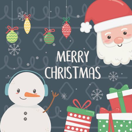 snowman and santa with gifts and balls snowflakes celebration merry christmas poster vector illustration Standard-Bild - 138475895