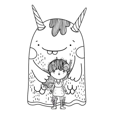 little fairy with monster characters Illustration