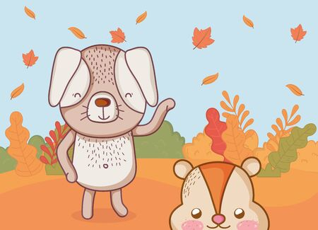 cute dog and beaver leaves natural foliage hello autumn vector illustration