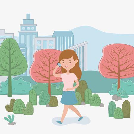 beautiful woman walking in the park using smartphone vector illustration design Ilustração