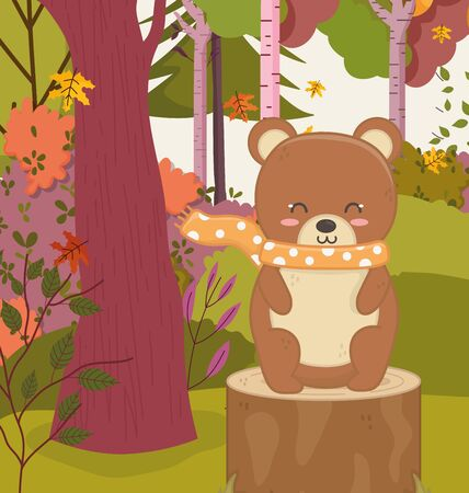 cute bear sitting stump forest hello autumn vector illustration