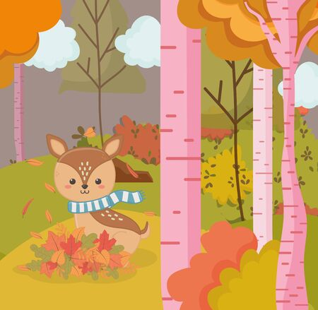 cute deer with scarf animal forest park trees hello autumn vector illustration