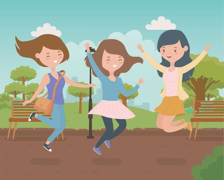 happy young women celebrating in the park vector illustration