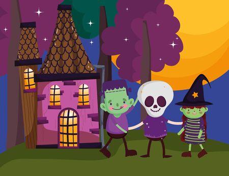 frankenstein skeleton and witch costume halloween vector illustration