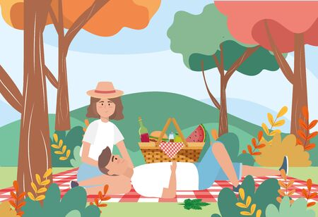 man and woman in the tablecloth with wine bottle to picnic relaxation, vector illustration Imagens - 138475879