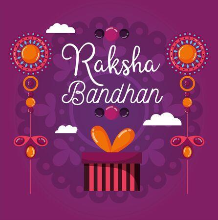 happy raksha bandhan poster gift box jewelry design vector illustration