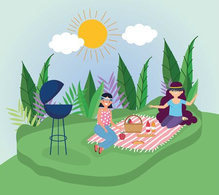 young women grill blanket food picnic in the park vector illustration Ilustracja