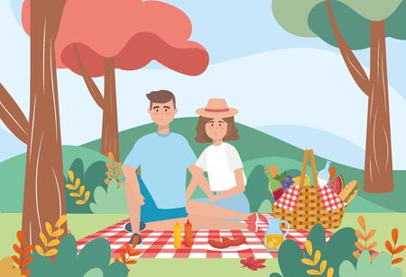 man and woman in the tablecloth with wine and milk bottle to picnic relaxation, vector illustration