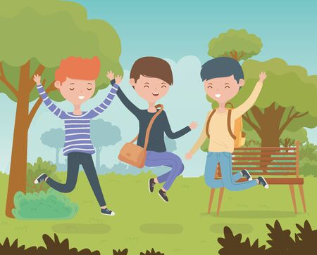 happy friends celebrating in the park scene vector illustration