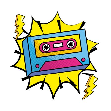 Pop art music cassette vintage cartoon