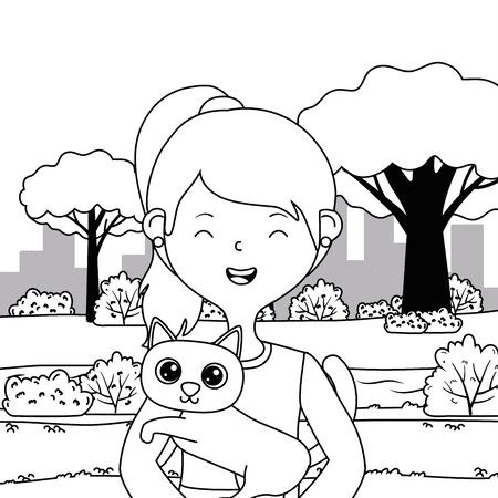 Girl with cat cartoon design