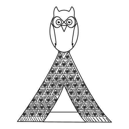 owl bird in indian tent bohemian style