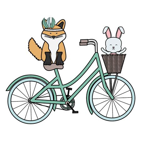 cute fox and rabbit with feathers hat in bicycle bohemian style Ilustracja