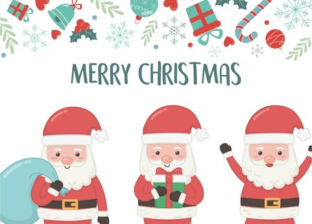 group santa with bag and gift merry christmas card