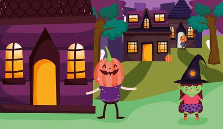 witch and pumkin costume trick or treat - happy halloween