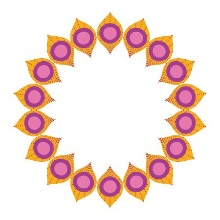 Feather round design, Bohemic ornament meditation indian decoration ethnic arabic and mystical theme Vector illustration