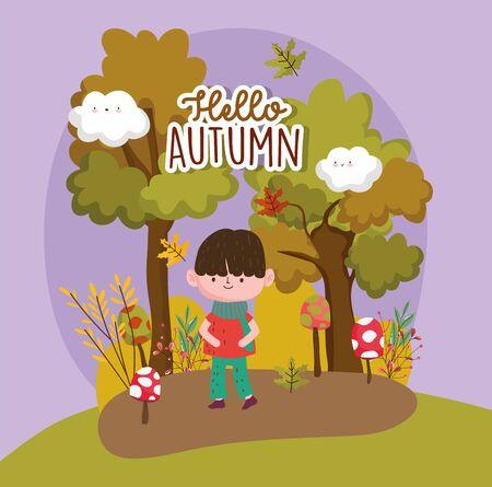cute boy forest hello autumn season inscription vector illustration