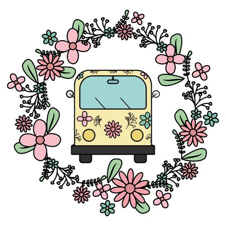 hippie van with floral print and flowers crown vector illustration design