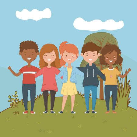 Girls and boys design, Firiendship together friends happy people and young theme Vector illustration