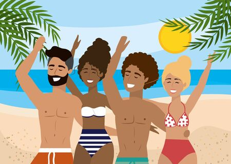 women and men wearing swimsuit and bathing shorts in the beach to summer time vector illustration