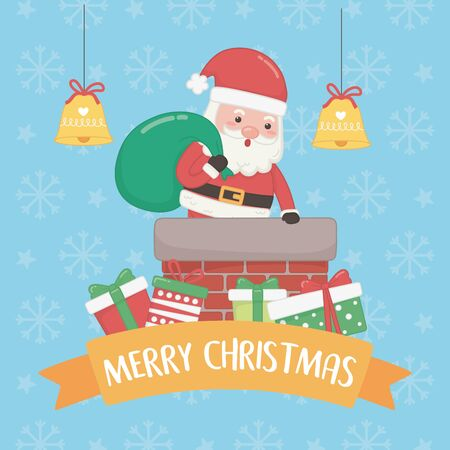 christmas card with santa claus and bag inn chimney vector illustration design Standard-Bild - 138476230