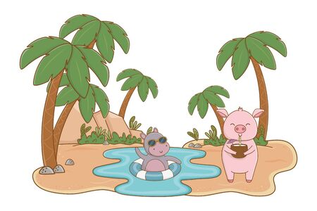 Cute animals hippopotamus and pig friends enjoying summer, travel and vacation cartoons vector illustration graphic design