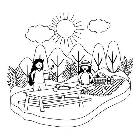 Women friends having picnic design, Food summer outdoor leisure healthy spring lunch and meal theme Vector illustration Ilustração