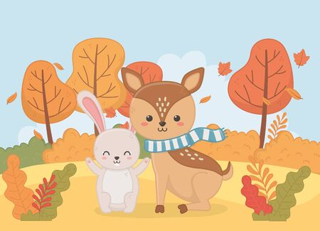 cute rabbit and deer animal autumn season vector illustration image  イラスト・ベクター素材