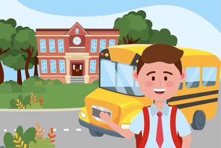 Boy kid and bus design, School education learning knowledge study and class theme Vector illustration