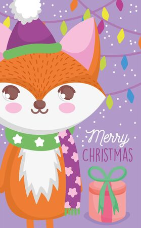 cute fox light garland gift snow happy christmas tags vector illustration