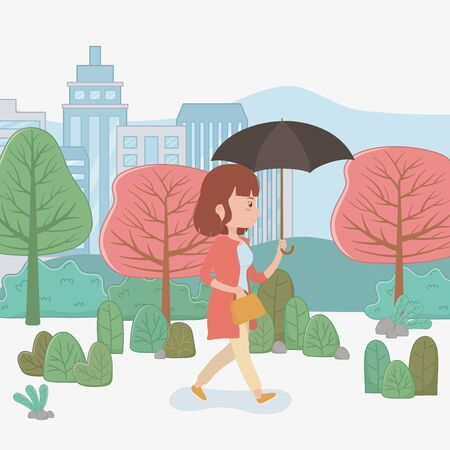young woman walking with umbrella in the park vector illustration design Ilustrace