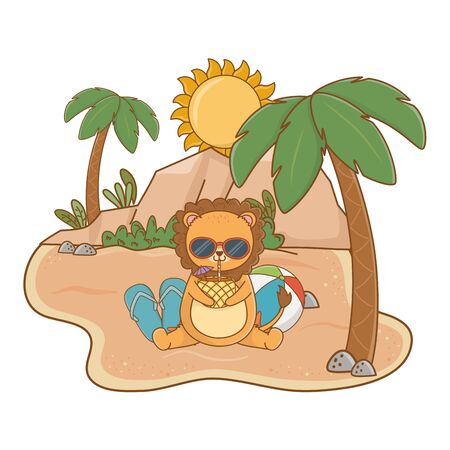 summer vacation relax time cute little happy animal  イラスト・ベクター素材
