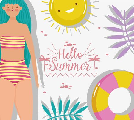 woman wearing bikini hello summer holiday design vector illustration Ilustracja