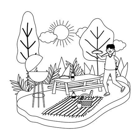 Man cartoon having picnic design, Food summer outdoor leisure healthy spring lunch and meal theme Vector illustration Ilustração